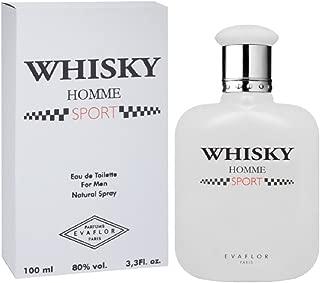 Whisky Premium Natural Cologne Evaflor Double Eau de Toilette For Men Spray Fragrance, 100 ml (3.3 FL OZ), Made In France