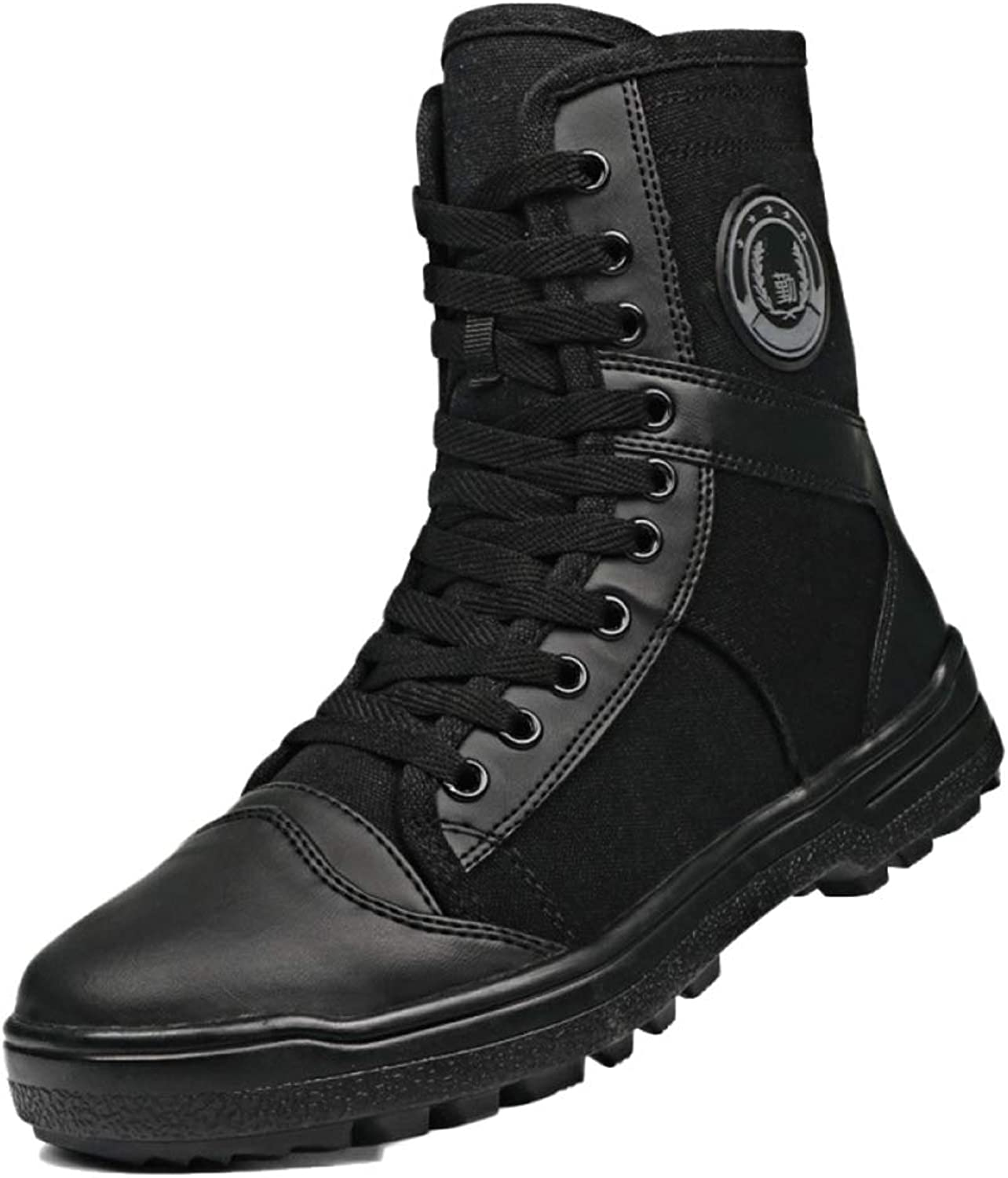 DSFGHE Men Boots Tactical Military Summer Boots Training Combat Breathable High-toplightweight