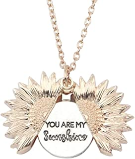 Eigxianhai You are My Sunshine Engraved Sunflower Necklace for Women Sunflower Locket Necklace