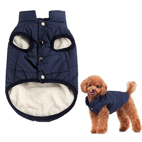 Kismaple Cane Accogliente Giacca in Pile Cappotto Foderato d'inverno Vestiti Caldi Imbottito per Piccolo Medio Grande Cani (M (Petto: 47cm, Collo: 33cm), Blu)