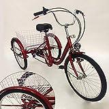 OU BEST CHOOSE 24' 3 Ruote Triciclo per Adulti con Lampada 6 velocità Biciclette, Carrello della Spesa Triciclo Triciclo Pedale Bici per Biciclette, per Lo Shopping all'aperto Picnic Sport (Rosso)