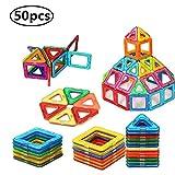 BYBOT 50 Pièces Blocs de Construction Magnétique Jeux Construction Aimanté Jeu Magnétique Jouet de Construction