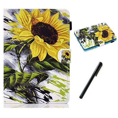 HereMore Universal Case for 10.1 Inch Tablet with Pen, Leather Stand Cover Protective Shell for Fusion5 10.1, iPad 10.2', Samsung Tab A 10.1/S2 9.7', Huawei MediaPad T3 10, Lenovo Tab E10, Flower