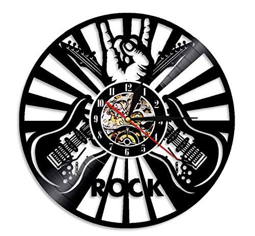 BOAOMAN Gitarre Wanduhr Vinyl Schallplatte Retro-Uhr groß Uhren Style Raum Home Dekorationen Tolles Geschenk Uhr Ohne LED, 30cm(A3)