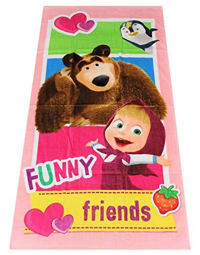 Toalla Masha y el oso Funny Friends, Toalla con Motivos, Toalla de Playa para niños, 70 x 140 cm, 100% algodón