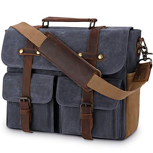 Laptop Messenger Bag for Men 15.6 Inch Waterproof Vintage Waxed Canvas Briefcase Genuine Leather Satchel Shoulder Bag Large Retro Computer Laptop Bag,Grey