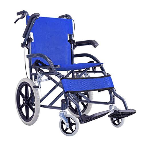 silla de ruedas Plegable Ligera con Frenos Levante los reposabrazos Reposapiés Cinturón de Seguridad, Silla de Viaje de tránsito portátil, Dispositivo de Movilidad para...