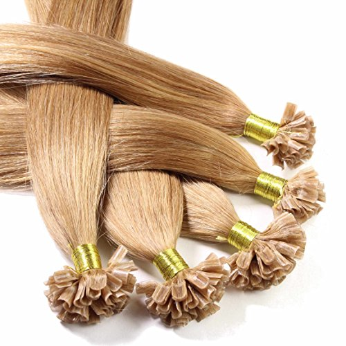 Hair2heart Bonding Extensions, 100 x 1 g echt haar, glad 40cm #12 Honing blond