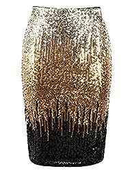 Light Gold/Gold/Black Sequin High Waist Sparkle Pencil Skirt