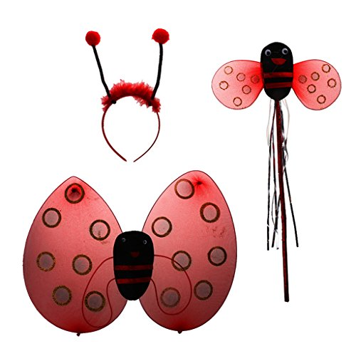 Marienkäfer Ladybird Kinder kostüm Zauberstab Stirnband Rock Halloween Party - 3pcs ohne rock, Eine Grösse passt allen