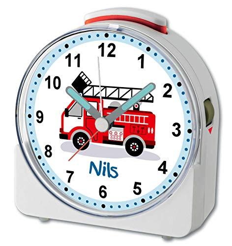 CreaDesign, WU-71-1023, Feuerwehr, analog Kinderwecker weiß, Funkwecker mit Sweep-Uhrwerk und fluoreszierenden Zeiger und Licht, personlisiert mit Namen, 10,2 x 4,6 x 11 cm