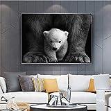 KWzEQ Pintura sin Marco Arte de Pared Vintage en Blanco y Negro sobre Lienzo para decoración de habitación Infantil de Oso nórdico pósterAY6959 80X120cm