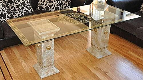 Tavolo da pranzo soggiorno in vetro con motivo a colonne di Medusa, dipinto a mano