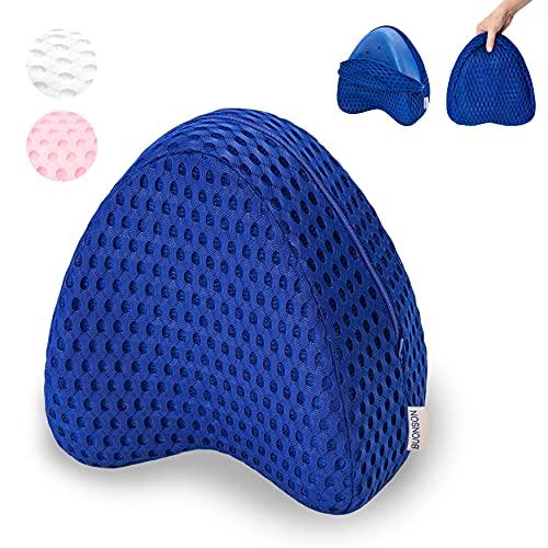 BUONSON Almohada para Piernas y Rodilla con 2 Fundas Transpirable - Cojin Ortopédica con Espuma de Memoria para Dormir de Lado - Alivia el Dolor de Espalda, Cadera y Articulaciones (Azul)