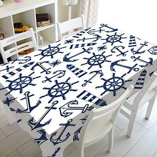 XXDD Rectangular dining table cover waterproof simple blue and white striped tablecloth dustproof washable tablecloth A7 140x200cm