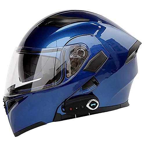 Casco Moto Modular Bluetooth Incorporado Casco Moto Integral ECE Aprobado Casco Scooter con Doble Visera Anti Vaho Material ABS para Adultos Hombre y Mujer 57~64cm