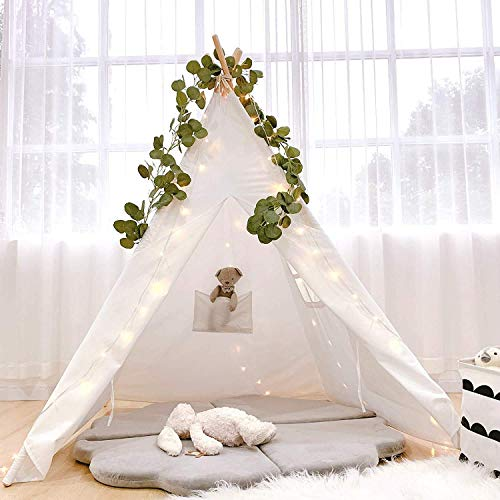 Teepee Tent for Kids with Artificial Vines, Fairy Lights, Natural Cotton Canvas Teepee Play Tent Foldable Tipi Childrens Tents for Girls, Boys Indoor Outdoor