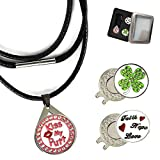 FINGER TEN Golf Ball Marker Necklace for Womens with Magnetic Hat Clip Crystal Bling Deluxe Gift Box, Premium Gifts Ideas Birthday Christmas Removable for Men Lady Golfer (Style 1- Kiss&Clover&Faith)
