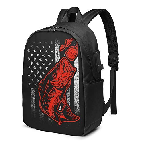 Bass Fishing Lure American Flag Laptop Backpack 17 Inch Anti-Theft Travel Business School Backpack with USB Charging Port and Headphone Interface Daypack Backpack for Women and Men