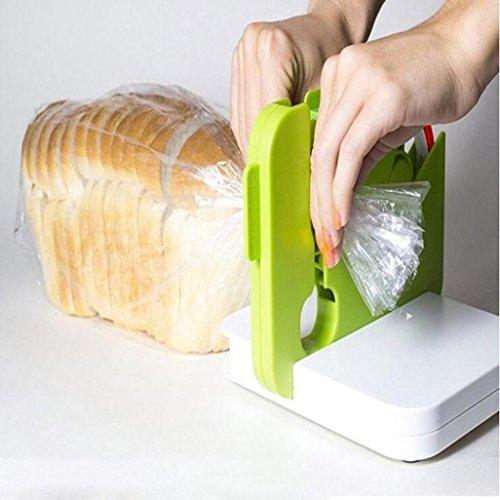 Bag Neck Sealer mit Klebeband, Einschweissgerät Handschweissgerät, Handliches Folienschweißgerät, Tüten-Verschweißer. Lebensmittel bleiben länger frisch und aromatisch (Grun)