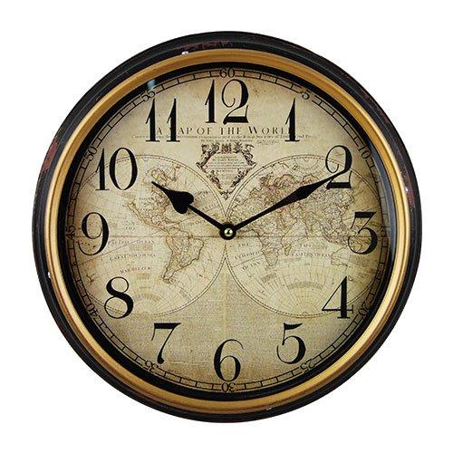 osters muschel-sammler-shop Maritime Wanduhr - Weltkarte - Shabby Look, Rostlook, Bullaugenoptik - analoge Uhr - Nostalgie-Uhr- Antikoptik - 31cm