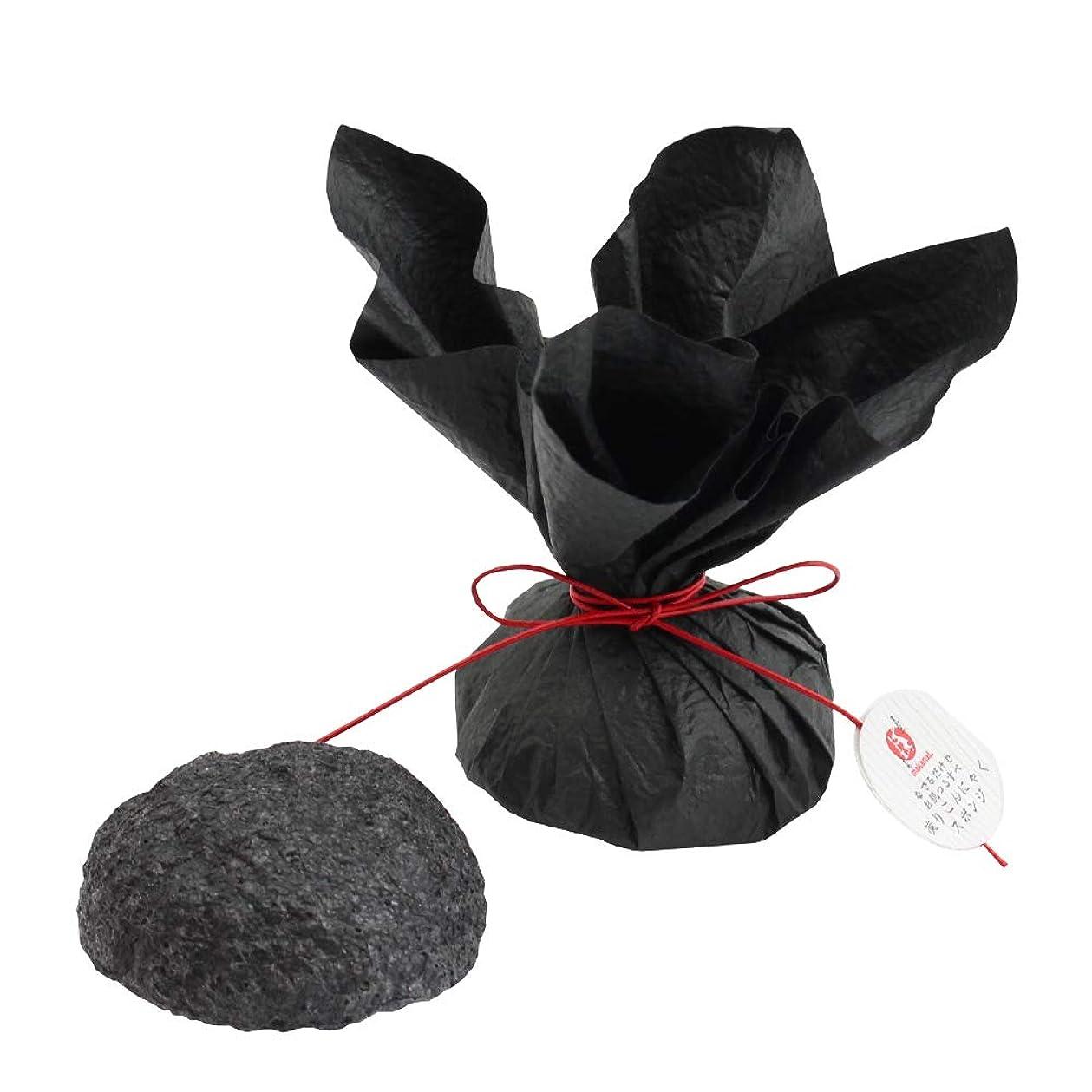 芸術的必須言うまでもなくまかないこすめ 凍りこんにゃくスポンジ(竹炭/黒)