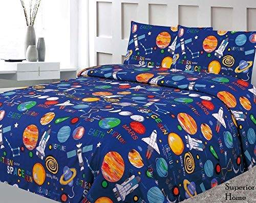 Sapphire Home Four (4) Piece Full Size Print Sheet Set with Fitted, Flat and 2 Pillow Cases, Space Planets Rockets Blue Multicolor Boys Kids Bedding Sheets