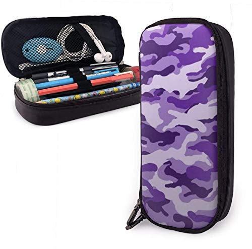 Astucci Camouflage Violet Pencil Case Pen Case Pencil Pouch Stationery Organizer Multifunction Cosmetic Makeup Bag Double Zipper Leather