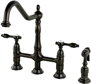Kingston Brass KS1275TALBS Tudor 8 Inch Center Kitchen Faucet With Brass Sprayer, Oil Rubbed Bronze, 8-3/4 inch in Spout Reach, Oil Rubbed Bronze