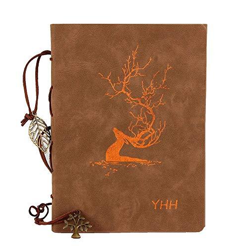 YHH Libreta Bonitas A5 Blanco/Plain, Cuaderno Dibujo anillas Cuero Vintage, Diario de Viaje Antiguo para Escribir recargable Blank Notebook Regalo Navidad para Mujer Hombre Niños, Ciervo Cobre, Brown