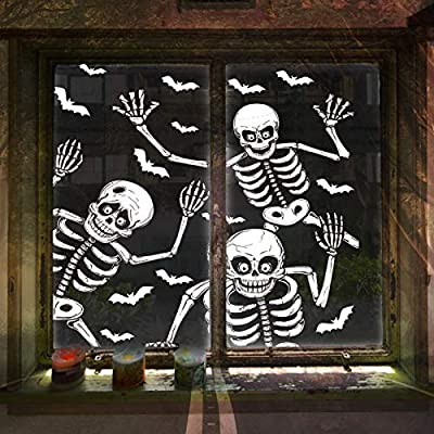 LessMo Halloween Window Clings, 4 Sheets Halloween Window Sticker Decals with Skull Skeleton, for Kids, Window Glass Mirror Decoration, Halloween Party Supplies, Trick or Treat Party