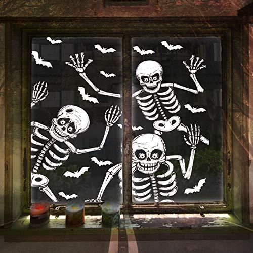 LessMo Halloween Fenster Sticker, 4 Stück Halloween Fenster Aufkleber, Gruseliges Skelett Fensterbilder für Halloween Tür Party Haus Spiegel Garten Fenster Deko