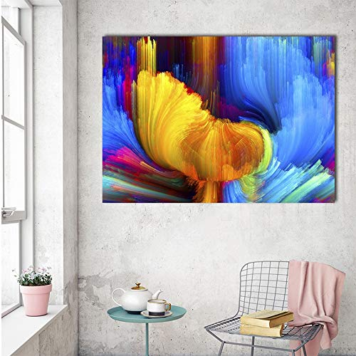 Geiqianjiumai gele Scandinavische theepot abstracte canvas kunstdruk muurschildering afbeelding woonkamer decoratie zonder lijst schilderij