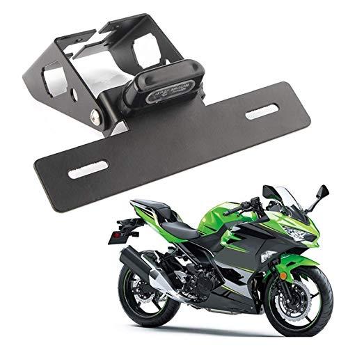 ZHANGWUNIU WUZ Store - Soporte para matrícula de motocicleta con luz LED, compatible con compatible con Kawasaki NINJa 400 2018-2019 / NINJa 250 (color negro)