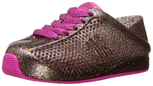 Mini Melissa Kids' Mini Love System Sneaker,Glass Pink Glitter,7 Regular US Toddler