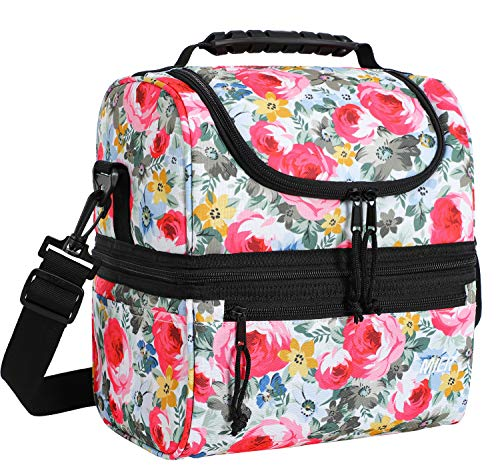 MIER Adult Lunch Box Insulated Lunch Bag Large Cooler Tote Bag for Men, Women, Double Deck Cooler, Hibiscus, Large