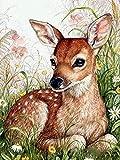 Pintura de diamante 5D, punto de cruz de diamante completo, bordado de ciervo animal, conjunto completo de imágenes de diamantes de imitación, pintura de diamante A4 40x50cm