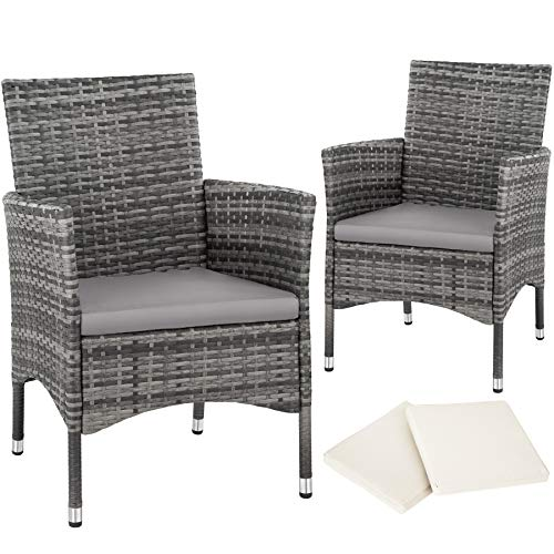 TecTake 2 x Poly rattan garden chairs set + cushions + 2 sets for exchanging the upholstery + stainless steel screws (Grey | No. 403224)