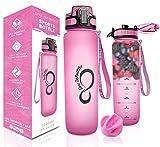 Live Infinitely 34 oz BPA Free Water Bottle with Time Marker, Fruit Infuser Screen & Shaker Blending Ball - Locking Flip Top Lid & Durable Rubberized Bottle Coating (Pink, 34 Ounce)