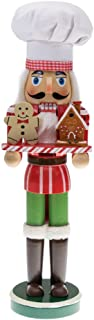 Clever Creations Christmas Chef Nutcracker Holding Gingerbread Man and House | Perfect for Any Collection | Festive Christmas Decor | Perfect for Shelves and Tables | 100% Wood | 15