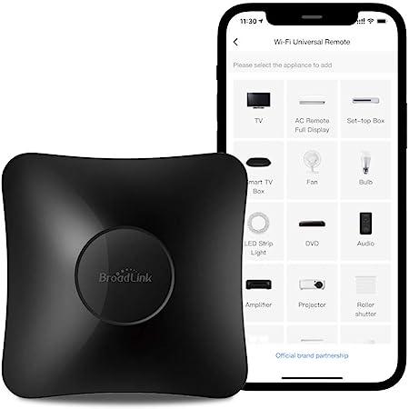 BroadLink RM4 Pro IR y RF Mando a Distancia Universal, Code Learning - Mando a Distancia WiFi para el hogar Inteligente y Dispositivos - para TV, AC, Motor de Cortina - Compatible con Alexa
