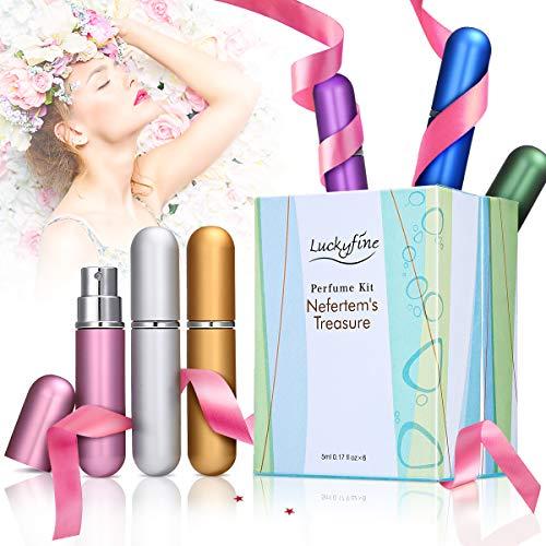 Luckyfine Mini Agua de Perfume Vaporizador 6 Pcs, Kit de Atomizador Spray, Portátil de Viaje, 6 x 5 ml, Regalo Perfecto para Día de Madre