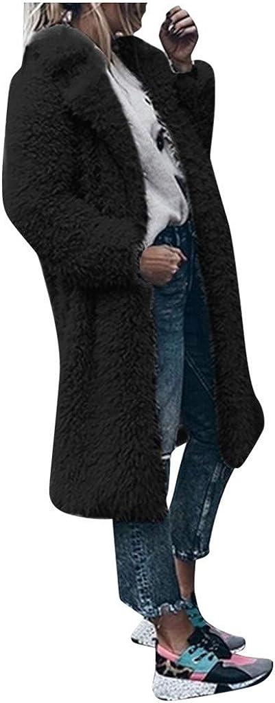 aihihe Womens Faux Fur Coats Jackets Warm Winter Plus Size Lapel Fuzzy Fleece Overcoats Open Front Long Cardigan Outwear