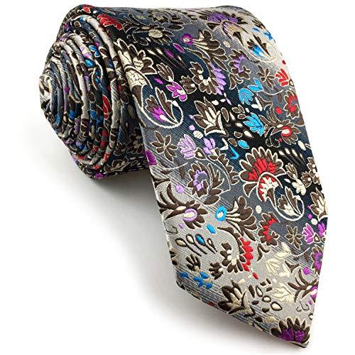 Shlax&Wing Clásico Hombre Seda Corbatas Para Plateado Multicolor Floral Extra largo