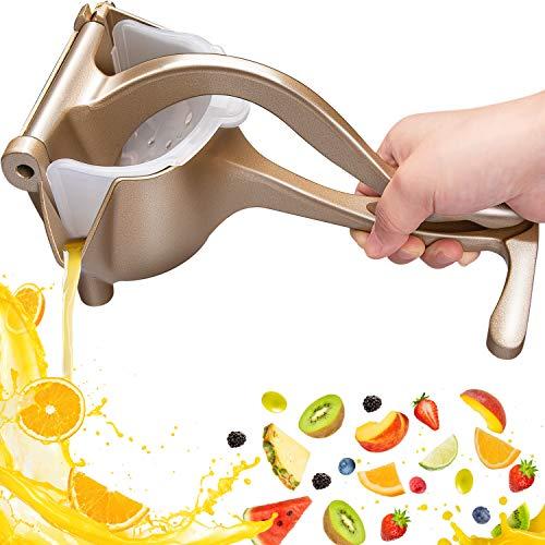 Exprimidor Limón Manual, Automoness Exprimidor Manual de aleación de aluminio,Prensa de mano herramienta de jugo de frutas Para frutas, limones, naranjas-Dorado