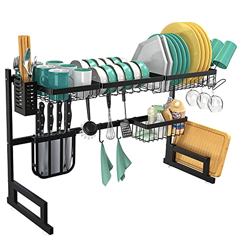 BASSTOP Over The Sink Dish Drying Rack, 2-Tier Dish Rack Width Adjustable Dish Drainer for Kitchen Organization Storage Shelf Dish Dryer Rack Utensils Holder for Countertop with 5 Utility Hooks