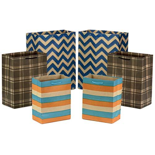 "Hallmark Gift Bag Assortment - Blue, Orange, Brown (Pack of 6: 2 Medium 9"", 2 Large 11"", 2 Extra Large 14"") Stripes & Plaid for Christmas, Hanukkah, Fathers Day, Birthdays, Baby Showers, Graduations"