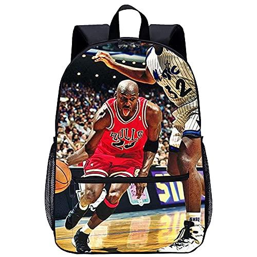 Mochila Infantil con 3D mochila escolar Baloncesto Dios Jordan Adecuado para: estudiantes de primaria y secundaria, la mejor opción para viajes al aire libre Tamaño: 45x30x15 cm / 17 pulgadas mochi