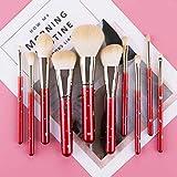 Harmonious Juego de 10 brochas de maquillaje para principiantes, set de brochas, brocha para cejas, brocha para cara completa, brocha para recortar, pincel para labios (beige rojo)