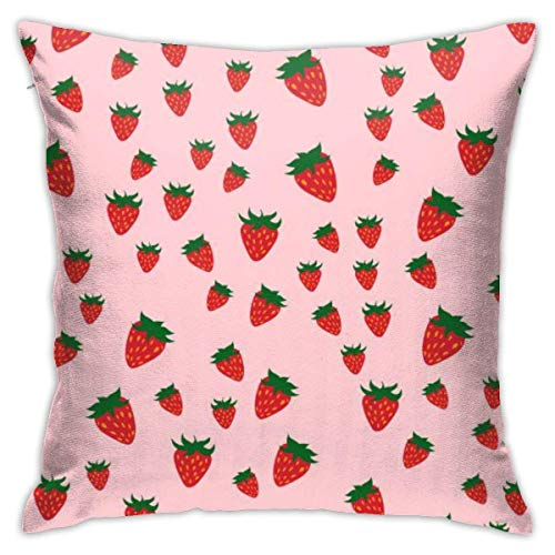 Traveler Shop Funda de Almohada Frambuesa de Patrones sin Fisuras Fresh Berry Red Funda de cojín Decorativa Fundas de Almohada Protectores, 18 x 18 Pulgadas